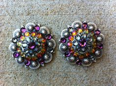 Bling Cowgirl -  Swarovski Rhinestone Conchos - Set of Two - Purple and Volcano on Etsy, $18.00