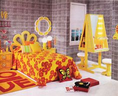 """justseventeen:  March 1970. """"Rise and shine in a sunburst bedroom where the outlook is all abloom."""""""