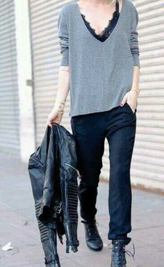 """56fd7fd152 justthedesign  """"Anine Bing is wearing a grey V-neck sweater"""