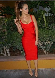 JAIR KNEE LENGTH BANDAGE DRESS - RED
