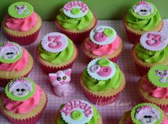 Lalaloopsy - Jewel Sparkles themed cupcakes - Lalaloopsy Cupcakes - Jewel Sparkles   I was given sent a pic off the web of similar toppers - sorry it had no name attached or watermark so I am not sure who to give credit it but whoever it was...thank you.  I have changed them a bit to the original but I love these....could just be my favourite colour combination of green and pink together.  Edible toppers on vanilla cupcakes with vanilla (brightly tinted) buttercream