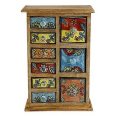 Kindwer Curios 9 Drawer Wood Apothecary Chest