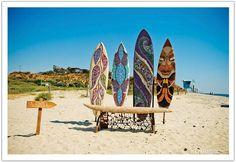 Beach wedding surf boards