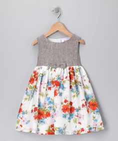 Take a look at this Orange Floral Herringbone Dress - Toddler & Girls by Jupon by Baby Nay on #zulily today!