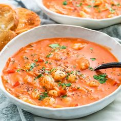 This Brazilian Shrimp Soup is an incredibly delicious tomato creamy soup with shrimp, coconut milk and seasoned to perfection. Perfect for any occasion! #brazilian #shrimpsoup