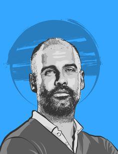 Portrait illustrations of the big six coach of Premier League Big Six, Portrait Illustration, Manchester City, Premier League, Graphic Art, Behance, Football, Illustrations, Fictional Characters