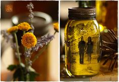 Creative DIY Ways to Display Your Family Photos --> DIY Vintage Pictures and Mason Jars Non Floral Centerpieces, Mason Jar Centerpieces, Centerpiece Ideas, Picture Centerpieces, Table Decorations, Reception Decorations, Wedding Centerpieces, Halloween Decorations, Mason Jars