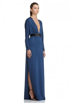 AQ/AQ Madison Long Sleeved Satin Maxi Dress with Deep Plunge Front · Teal Blue ·