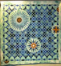 Wyoming State Quilt Guild, 2012 opportunity quilt- 2 of my favorite patterns -storm at sea & mariner's compass Blue Quilts, Star Quilts, Quilt Blocks, Storm At Sea Quilt, Mariners Compass, Quilt Border, Contemporary Quilts, Machine Quilting, Hand Quilting