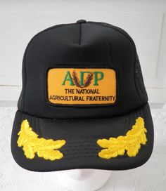 a8010975c37 Vintage Alpha Gamma Rho Snapback Mesh Trucker Hat Patch AGR National  Agricultural Fraternity Black Cap Gold Leaf Scrambled Eggs One Size