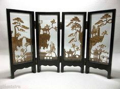 Vintage Chinese Hand Carved Cork Screen