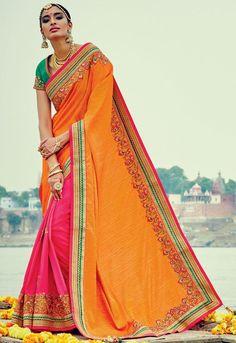 Elegant Rani Pink and Golden Yellow Saree