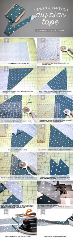 Master the sewing basics with this bias tape DIY tutorial. Making your own bias tape allows you to cut fabric to the exact width you need for any sewing project. Plus, you can use any pattern you like! Click in to read the full guide, courtesy of Lia Griffith.