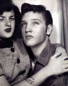 Elvis Presley & Friend in a Photo booth, 1950s.