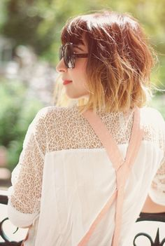 Really pretty short ombre bob! I like the dark red on top with blonde tips but I would never go red again.