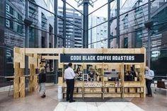 Code Black, Melbourne International Coffee Expo (Melbourne, Australia), Pop-Up… Kiosk Design, Cafe Design, Booth Design, Store Design, Bar Design Awards, Pop Up Restaurant, Restaurant Design, Café Bistro, Pop Up Cafe