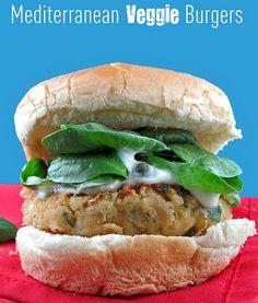 Mediterranean Veggie Burger With Lemon Caper Mayo