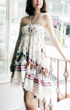 Printed Halterneck  Beach Dress ++