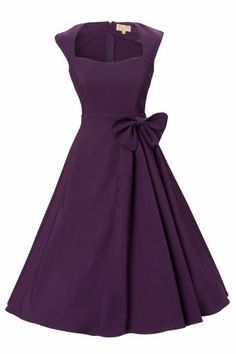 Lindy Bop - 1950's Grace Purple Bow vintage style rockabilly swing party evening dress.