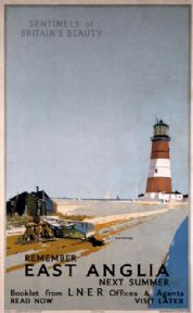 Remember East Anglia Next Summer, Orfordness Lighthouse, Suffolk. Vintage LNER Travel poster by Frank H Mason Posters Uk, Train Posters, Railway Posters, Vintage Travel Posters, Cool Posters, Poster Prints, Art Prints, British Travel, National Railway Museum