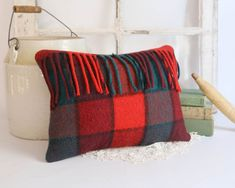 Vintage Wool Pillow Red Plaid Throw Pillow by TheHeirloomShoppe Plaid Throw Pillows, Wool Pillows, Cushions, Bear Decor, Red Plaid, Tartan, Rustic Cabin Decor, How To Make Pillows, Vintage Wool