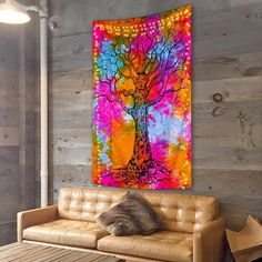 Electrifying Tree Of Life Tapestry – Trippy Tapestry Tree Of Life Tapestry, Space Tapestry, Trippy Tapestry, Table Covers, New Day, Living Spaces, Wall, Artwork, Shop Sale