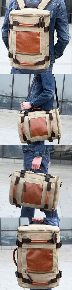 US$31.56 Multi Use Travel Backpack_ Canvas Sling Bag_Mens Shoulder Bag_ Outdoor Handbag For Men