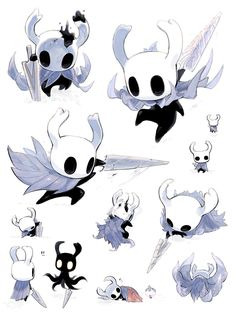 犬藤 on - Hollow Knight , Fantasy Character Design, Character Design Inspiration, Character Art, Creature Concept Art, Creature Design, Creature Drawings, Animal Drawings, Chibi, Hollow Night