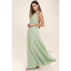 First Comes Love Sage Green Maxi Dress ($89) ❤ liked on Polyvore featuring dresses, green, pink dress, pink maxi dress, maxi skirt, halter maxi dress and sage green dress