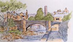 The pack horse bridge at Hebden Bridge - sketch ~ John Edwards