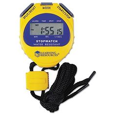 Big Digit Stopwatch, Waterproof, 1/100 Second, Alarm, Yellow. Sold as 1 Each. Waterproof. Easy-to-read display.