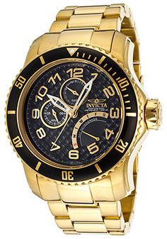 Invicta Pro Diver Black Textured Dial 18K Gold Plated Stainless Steel Watch - $159.99