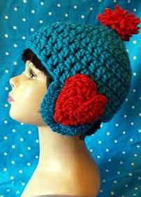 Crocheted hat- hearts on ears