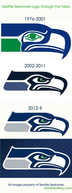 Progression of design changes in the Seattle Seahawks football team logo. Progression of design changes in the Seattle Seahawks football team logo. Seahawks Football, Seattle Seahawks Logo, Football Team Logos, Seahawks Fans, Seahawks Merchandise, Seahawks Memes, Football Memes, Sports Logos, Nfl Sports