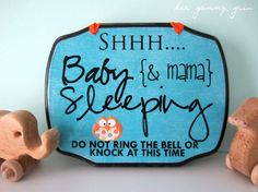 BABY SLEEPING SIGN Custom Made  9 x 7 by HerGummyGrin