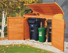 Garbage can storage shed: garbage storage. Link no longer works: it's a product from Costco that apparently they don't carry anymore. Anyone know the manufacturer?