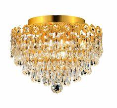 Century 4 Light Crystal (Clear) Flush Mount in Gold Finish 1902F12G/EC