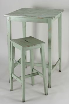 Square Mint Green Cocktail Table and Bar Stool for the Kitchen Corner, to look out the corner window,