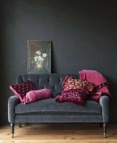 Gray and cranberry Imagine this with Navy blue wall color and white shelving…
