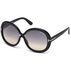 TOM FORD Gisella Oversized Round Acetate Sunglasses (260 AUD) ❤ liked on Polyvore featuring accessories, eyewear, sunglasses, black, gradient sunglasses, round lens sunglasses, round sunglasses, oversized round glasses and thin sunglasses