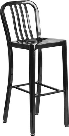 30'' High Metal Indoor-Outdoor Barstool with Vertical Slat Back (Multiple Colors)