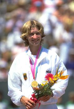 1984 - Steffi Graf Women's Singles Tennis at the Los Angeles Olympics  Steffi Graf, Germany, wins gold medal in women's singles tennis, 1984 Los Angeles Olympics.