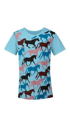 KIDS ROUND UP HORSE TEE Sky #60477 $25.00 A bright herd of ponies helps girls declare their love of horses on this soft, 100 percent cotton tee. Fun colors coordinate with Kerrits layers and bottoms; as comfy on your kid as she is in the saddle. They'll love it as a staple to their summer uniform that keeps their passion close to heart.