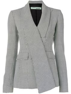 Shop Off-White fitted houndstooth blazer Blazer Dress, Jacket Dress, Blazer Suit, Casual Skirt Outfits, Classy Outfits, Career Wear, Clothing Sites, Cardigan, Blazer Fashion