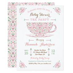 17 Best Tea Party Baby Shower Invitations Images