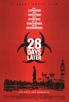 28 Days Later is a 2002 British post-apocalyptic horror film directed by Danny Boyle, written by Alex Garland, and starring Cillian Murphy, Naomie Harris, Brendan Gleeson, Megan Burns, and Christopher Eccleston. https://en.wikipedia.org/wiki/28_Days_Later (fr=28 jours plus tard)