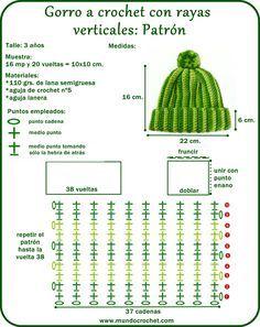 Hat crochet pattern for kids Lidia Crochet Tricot, Ribbed Crochet, Crochet Chain, Crochet Beanie, Crochet Stitches, Crochet Hooks, Crochet Patterns, Crochet For Beginners, Crochet For Kids