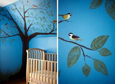 Nursery-love the stenciled leaves...if only they changed colors with the seasons