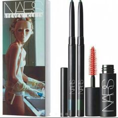 """Nars Tearjerker Set 2 eyeliner & Mascara New Brand new sealed in box (*swatch pic from a blog..this is NOT opened). Nars Cosmetics Steven Klein """"Tearjerker"""" set.Contains  ?Kohl Eyeliner in  Tragic & X-Static and Audacious Mascara in Black Moon NARS Makeup"""