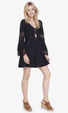 $59 BLACK LACE INSET TRAPEZE DRESS | Express